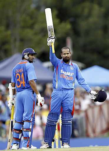 Yusuf Pathan celebrates after hitting a century against South Africa