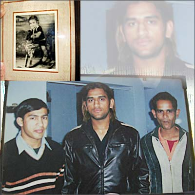 Dhoni as a child (top). With his brother Narendra (right)