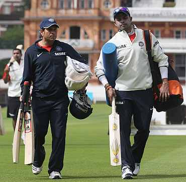 Sachin Tendulkar and S Sreesanth walks back after the practice session at Lord's cricket ground