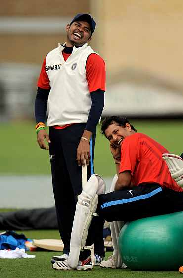 S Sreesanth and Sachin Tendulkar share a light moment during a training session in Nottingham