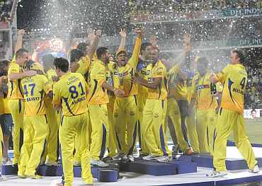 Chennai Super Kings player celebrate after winning IPL4