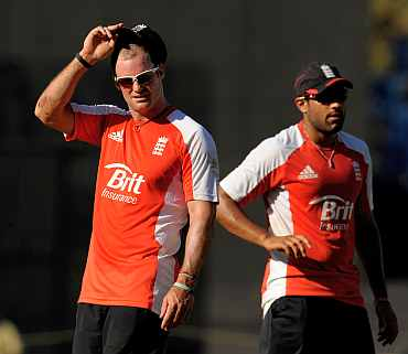 England's Andre Strauss and Ravi Bopara during a pratice session