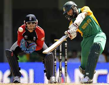 South Africa's Hashim Amla plays a shot on the off-side during his match against England
