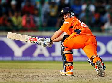 Peter Borren plays a sweep shot druing his innings against India