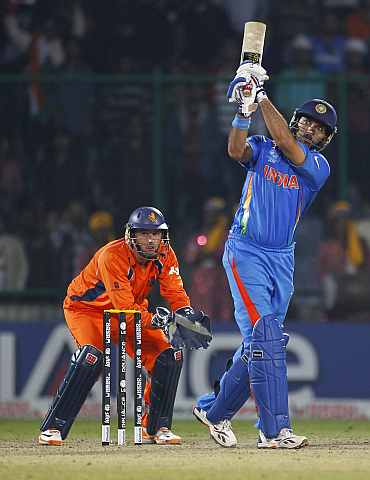India's Yuvraj Singh plays a shot on the leg side during his knock against the Netherlands