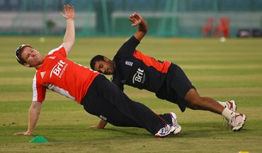 Eoin Morgan and Ravi Bopara during England's training Session at the Zahur Ahmed Chowdhury Stadium in Chittagong.