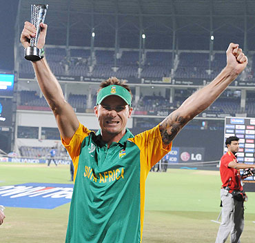 Dale Steyn of South Africa celebrates winning the Man of the Match against India on Saturday