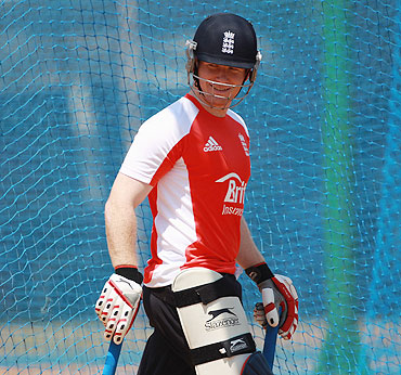 Eoin Morgan during a nets session