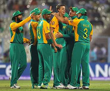 South Africa's Morne Morkel celebrates after picking up a wicket during his match against Ireland in Kolkata