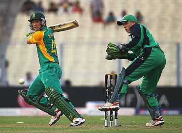South Africa's Colin Ingram plays a shot during his match against Ireland in Kolkata