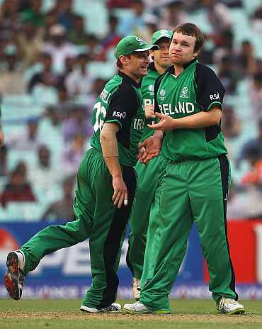 Ireland players celebrate after a fall of a wicket