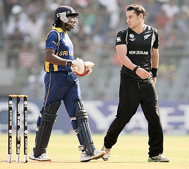Mahela Jayawardena (left) has an altercation with Nathan McCullum after the catch was not given