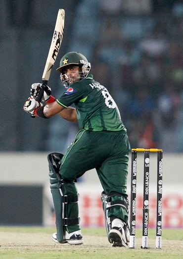 Mohammad Hafeez in action against the West Indies