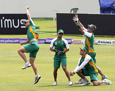 South African players during a practice session