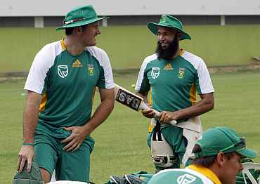 South Africa's Hashim Amla and Graeme Smith during a practice session