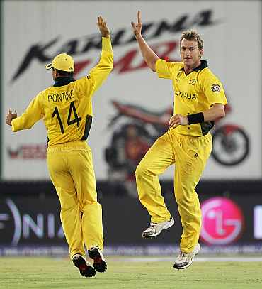 Brett Lee celebrates after picking up a wicket