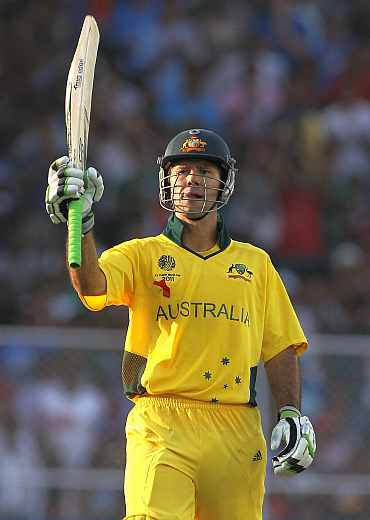 Ricky Ponting reacts after completing his century against India