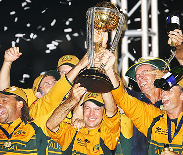 Ricky Ponting of Australia celebrates with teammates after winning the ICC Cricket World Cup at the Kensington Oval in 2007