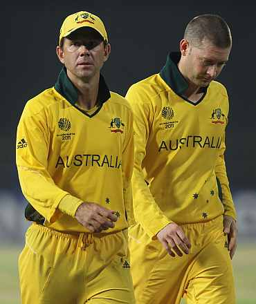 Ricky Ponting with Michael Clarke