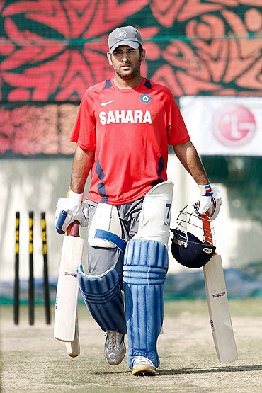 Mahendra Singh Dhoni at the nets session in Mohali on Monday