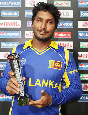 Man of the match Kumar Sangakkara of Sri Lanka poses with the trophy