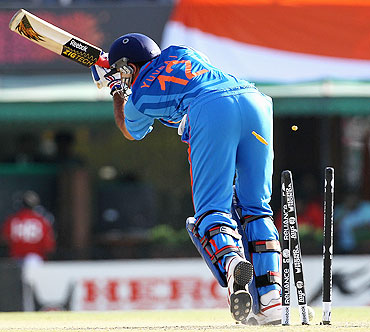Yuvraj Singh of India is bowled for a first ball duck by Wahab Riaz