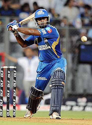 Ambati Rayudu plays a pull shot duing the IPL match between Mumbai Indians and Delhi Daredevils