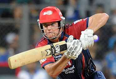 James Hopes plays a shot during his match against Mumbai Indians