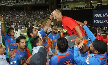 Kirsten is chaired by India players after the World Cup final in Mumbai