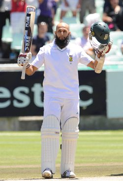 Amla celebrates after getting to hundred