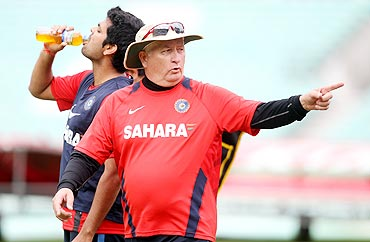 India coach Duncan Fletcher during a nets session