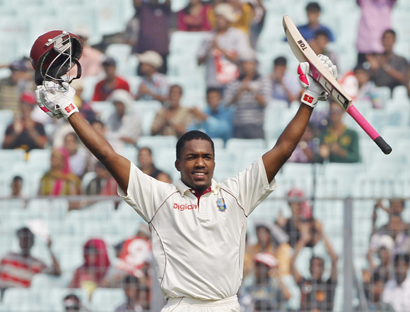 West Indies' Darren Bravo celebrates his century