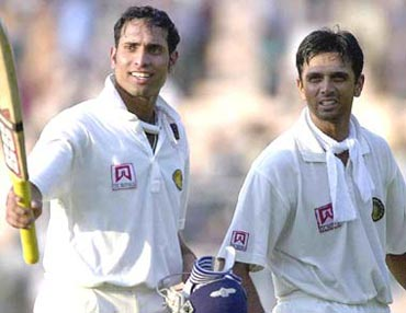 Rahul Dravid (right) with VVS Laxman