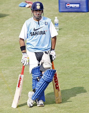 India's Gautam Gambhir waits to bat in the nets during a practice session