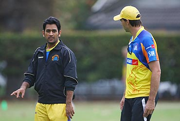 Stephen Fleming (right) with MS Dhoni