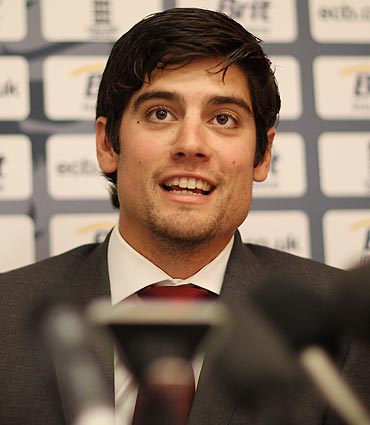 England captain Alastair Cook at a media briefing in London prior to the team's departure to India