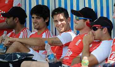 England players take a break during a practice session in Hyderabad