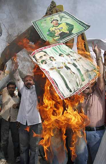 Fans burn effigies of Pakistan players