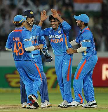 Ravindra Jadeja celebrates after picking up a wicket