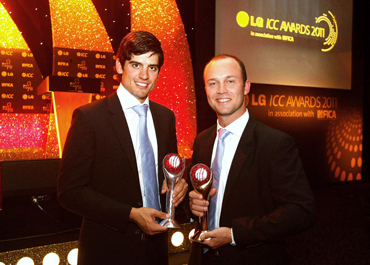 Alastair Cook (left) with the ICC Test Cricketer of The Year Award and Jonathan Trott with the ICC Cricketer of The Year Award