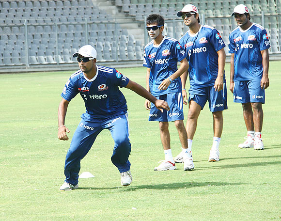 Mumbai Indians players at a fielding drill