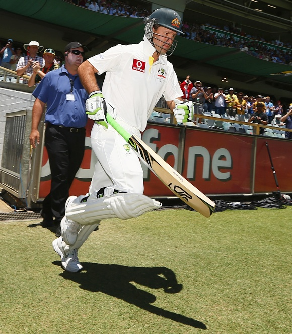 Ricky Ponting of Australia comes out to bat for the last time