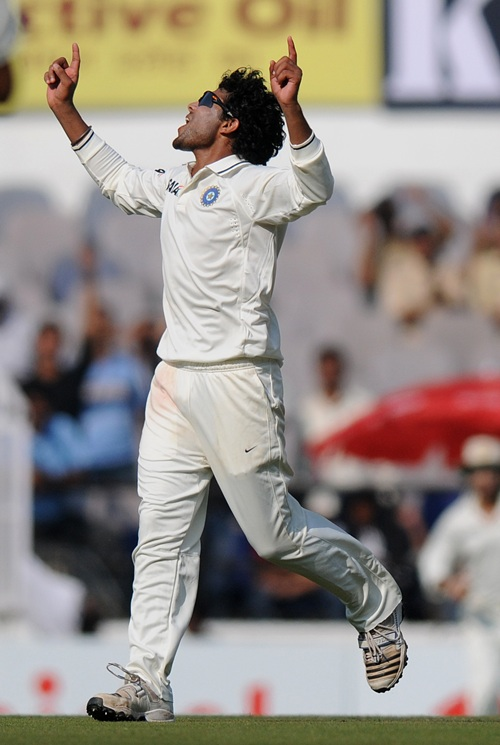 Jadeja in action on Day 1 of the fourth Test