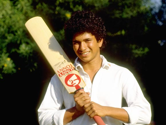 Sachin Tendulkar before the Test series against Pakistan, in October 1989