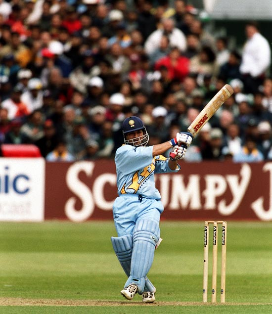 Sachin Tendulkar hits out during the 1999 World Cup match against Kenya in Bristol