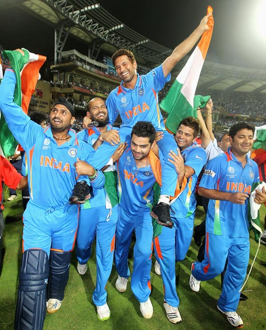 Sachin Tendulkar is chaired around the field by his team-mates as they celebrate winning the 2011 World Cup