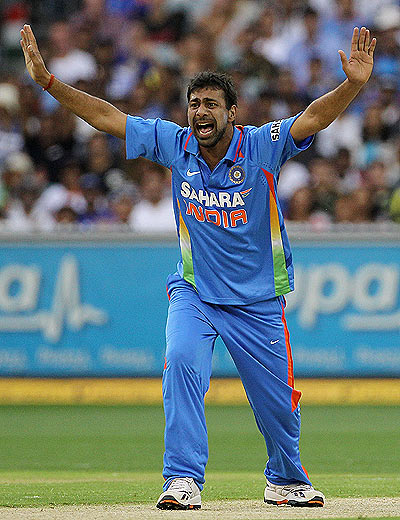 Praveen Kumar appeals for a wicket during the 1st ODI on Sunday