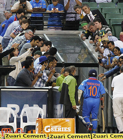 Sachin Tendulkar of India walks down the tunnel after losing his wicket during the 1st ODI on Sunday
