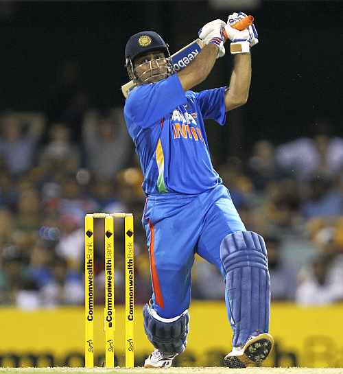 MS Dhoni hits a six during his knock against Australia