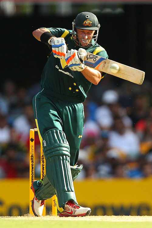 Mike Hussey during his knock against India